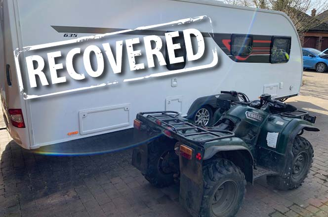 Recovered Quad Bike and Caravan
